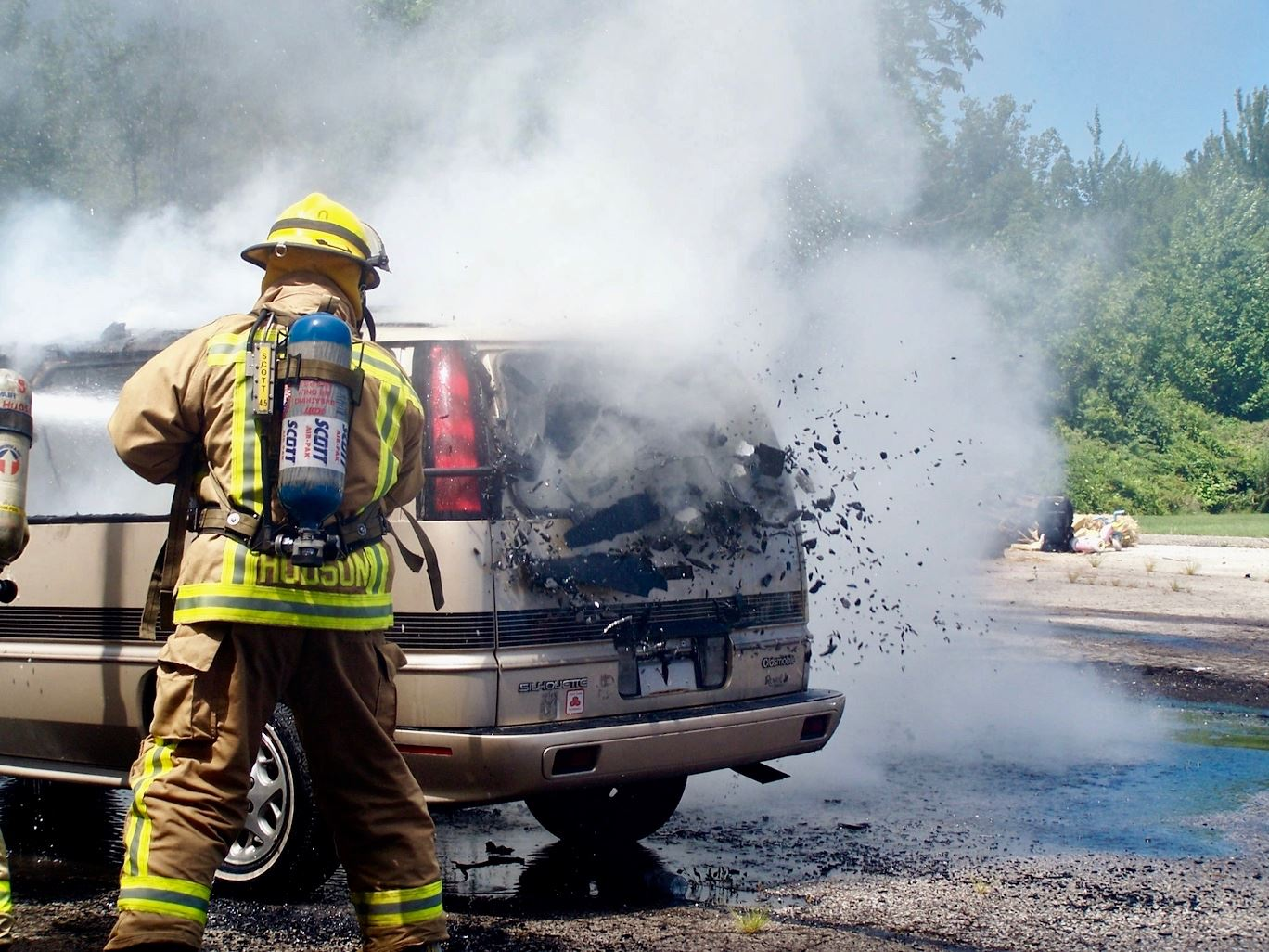 Firefighter at Car Fire