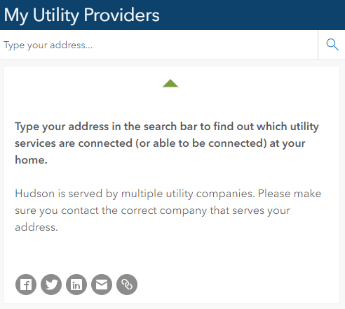 Utility search tool to determine which services are available at the searched address.