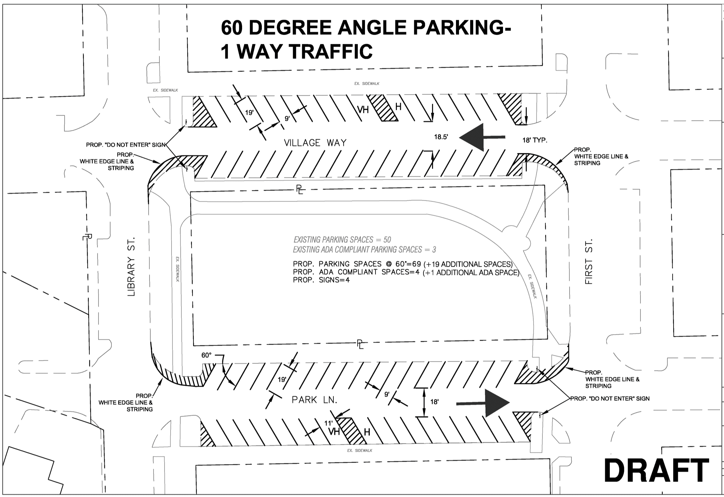 Exhibit B - Proposed 60 Degree Parking Layout